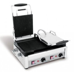 Panini Grill, Double, Ribbed Top & Bottom- 240V
